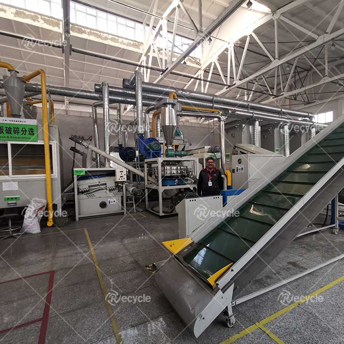 Customer site of waste circuit board crushing, sorting and recycling equipment